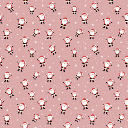 Christmas texture with Santa Claus. Seamless pattern. Vector