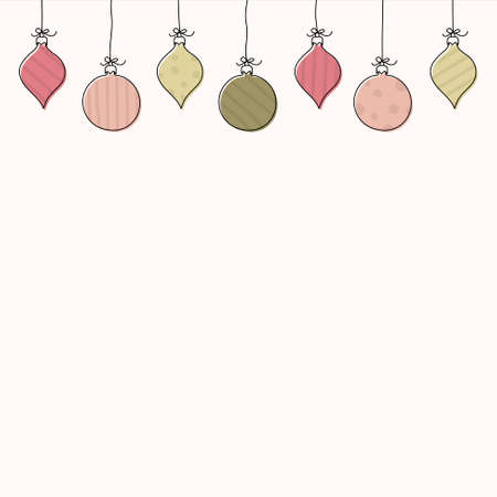 Christmas background with hanging balls and copyspace. Vector Illustration