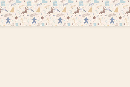 Christmas background with festive decorations and copyspace. Vector Illustration