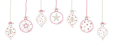 Hand drawn Christmas balls with decorations. Vector Illustration