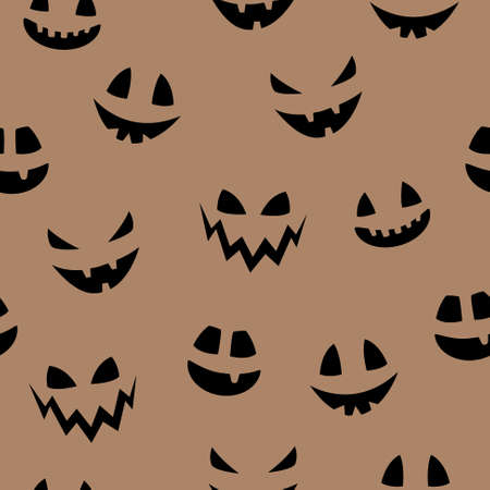 Funny Halloween texture with funny pumpkin face. Seamless pattern. Vector