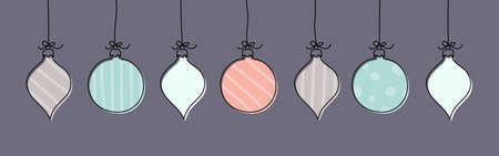 Hanging hand drawn Christmas balls. Banner. Vector Illustration