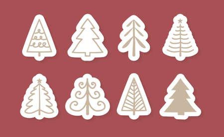 Set of Christmas trees. Vector