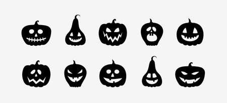 Funny pumpkin lanterns. Halloween icon set. Vector Illustration