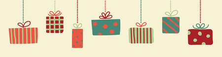 Design of hanging Christmas present boxes. Vector