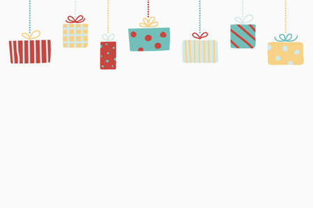 Background with hanging Christmas gift boxes. Xmas design. Vector