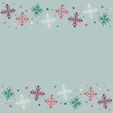 Empty card with hand drawn snowflakes. Christmas concept. Vector Illustration