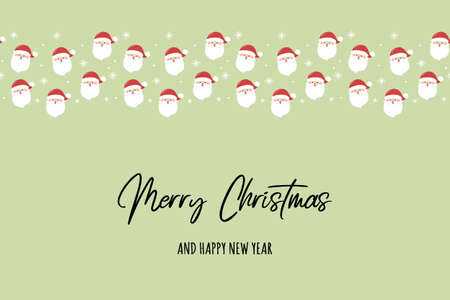 Design of a Christmas card with happy Santa Claus and wishes. Vector