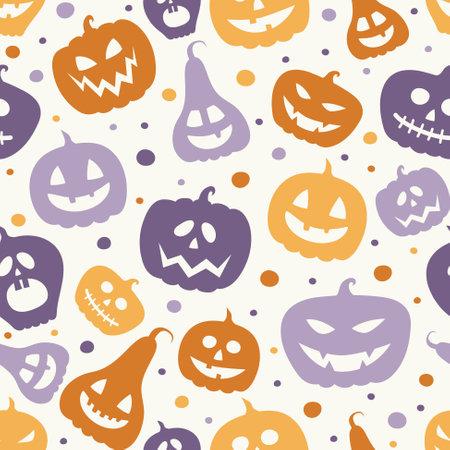 Creepy Halloween wallpaper with pumpkins. Seamless pattern. Vector