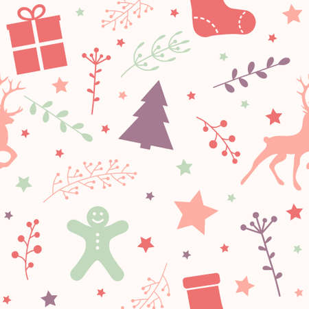 Design of seamless pattern with Christmas ornaments. Vector