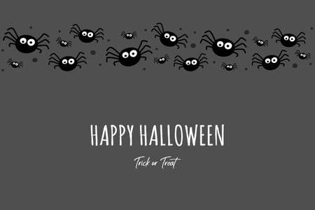 Funny spiders on background with wishes. Halloween greeting card. Vector