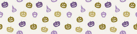 Halloween pattern with funny pumpkin lanterns. Banner. Vector Illustration