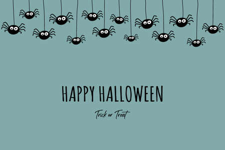 Background with hanging spiders and wishes. Halloween card. Vector