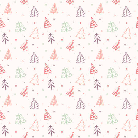 Concept of a seamless pattern with Christmas trees. Xmas background. Vector Illustration