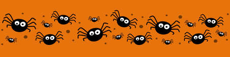 Banner with funny spiders. Halloween design. Vector