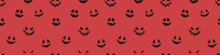 Halloween banner with funny pumpkin lantern face. Seamless texture. Vector