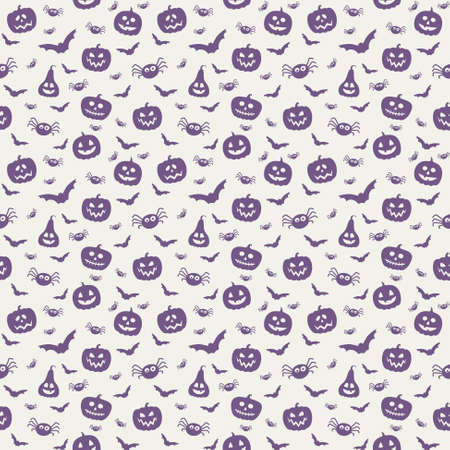 Design of Halloween pattern with funny pumpkin lanterns and spiders. Vector