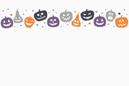 Design of Halloween background with funny pumpkin lanterns. Vector