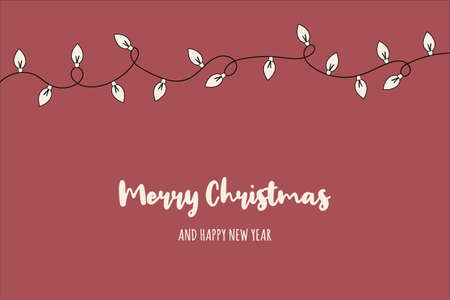 Christmas card with festive lights and wishes. Vector Illustration