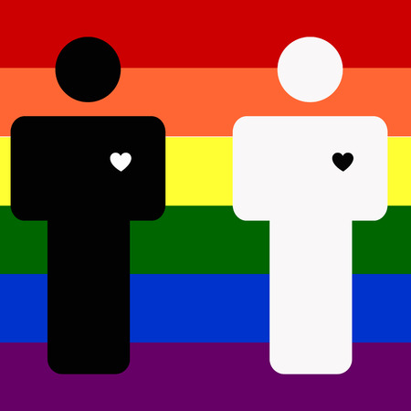 civil partnership: Colorful illustration with rainbow and men. Gay love