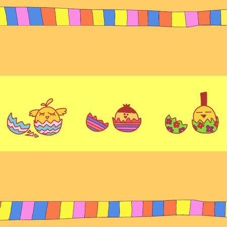 chiken: Colorful abstract illustration with eggs and chiken.  cute background.