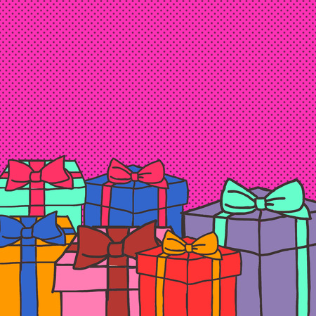 comercial: Colorful abstraact illustration with gift box. hand drawn elements.
