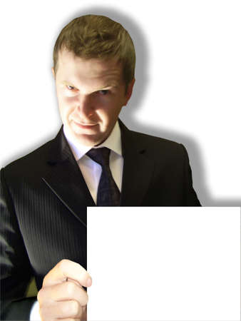 terrifying: terrifying man with the large white card Stock Photo