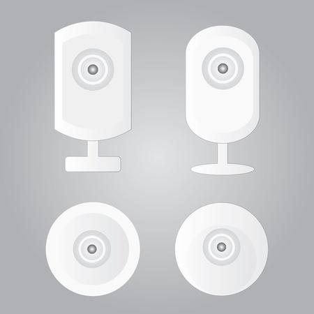 monitored: cctv icons, surveillance camera icons set