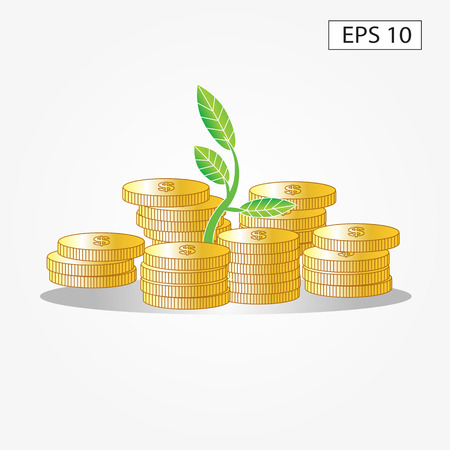 bank branch: plant growing out of gold coins isolated