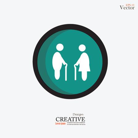 old couple walking: Elder icon.old man. Illustration