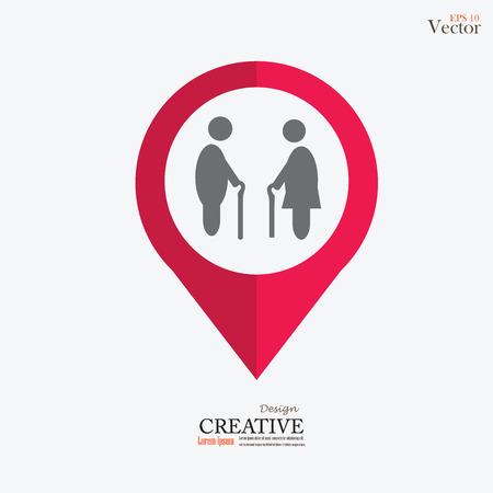 elderly: Elder icon.old man. Illustration
