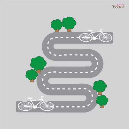 Bicycle route.Bicycle symbool op de fiets lane.bicycle route.vector illustratie.