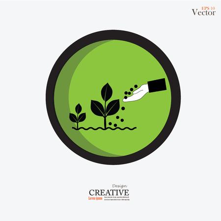 fertilizing: hand giving fertilizer to a young plant.fertilizer plant.vector illustration. Illustration