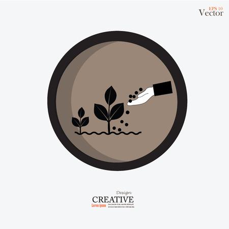 Hand, die Düngemittel, das einem jungen plant.fertilizer plant.vector Illustration.
