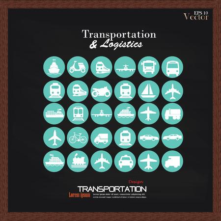 はしけ: Chalkboard.transportation に icons.transportation をトランスポートします。 logistics.logistic icon.vector イラスト。  イラスト・ベクター素材