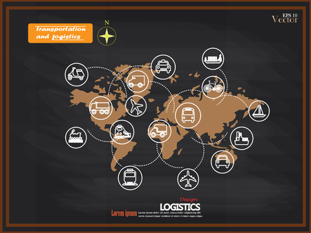 motor transport: Transport icons.transportation on chalkboard.transportation .logistics.logistic icon.vector illustration.