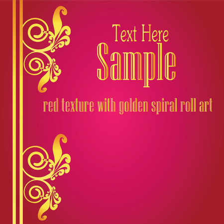 abstract background vector: Golden design with floral and spiral pattern on red,abstract background vector