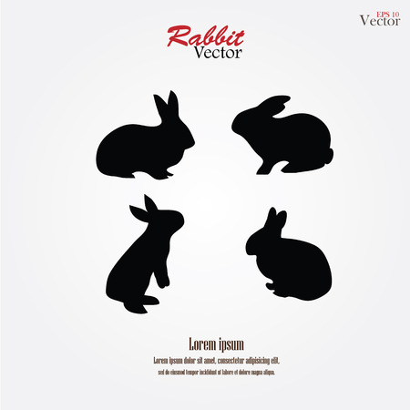 rabbit silhouettes on gray background.rabbit.vector illustration