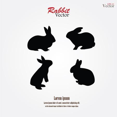 conejo: siluetas de conejo en gris ilustración background.rabbit.vector