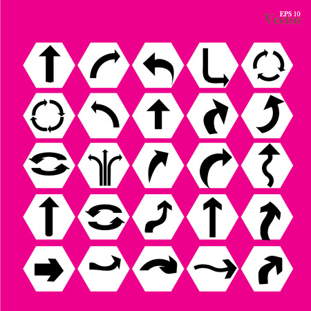 icono flecha: flecha icono conjunto, la flecha en rosa background.arrow illustration.basic arrow.standard flecha .arrow vectorial.