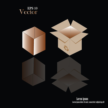 brown box: riciclare imballaggi scatola marrone su sfondo. illustrazione vettoriale