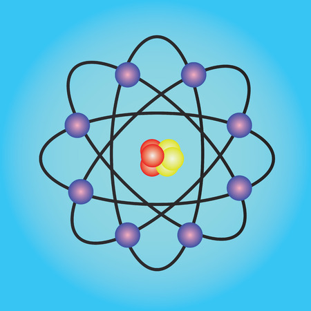 Atom structure vector,symbol of atom,atom ,atom illustration,covalent shell of atom.vector illustration Stock Photo