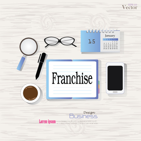 service desk: Business concept.Office desk top view with  franchise word. Flat design style , office equipment, working tools and other business elements on wood background.vector illustration. Illustration