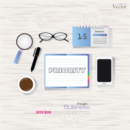 prioridades: Vista de escritorio de negocios concept.Office con la palabra prioridad. Estilo Flat dise�o, equipo de oficina, herramientas de trabajo y otros elementos de negocio en la ilustraci�n background.vector madera.