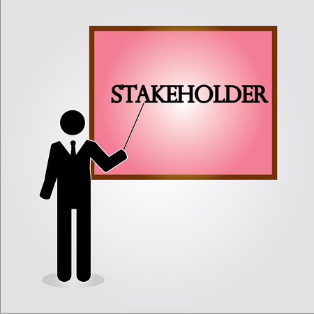 business man point to  stakeholder satisfaction,stakeholder concept vector,business concept