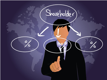 stakeholder: business man point to  stakeholder satisfaction,stakeholder concept vector,business concept