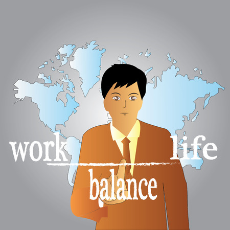 equalize: businessman point to work life balance