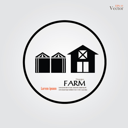 silo: Barn house with silo icon on gray background. Vector illustration. Illustration
