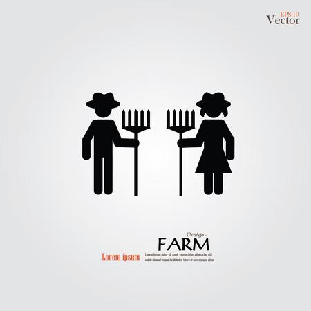 boer icon.male en vrouwelijke boer met rake.vector illustratie.