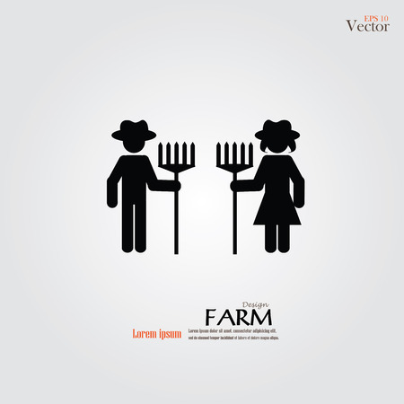 agrarian: farmer icon.male and female farmer with rake.vector illustration. Illustration